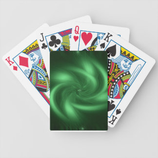 Green spiral design on playing card's bicycle playing cards