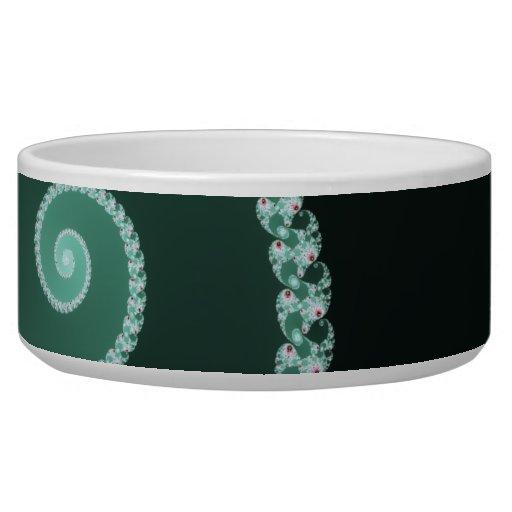 Green Spiral - fractal design Dog Food Bowl