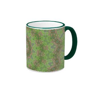 Green spiral fractal design ringer coffee mug