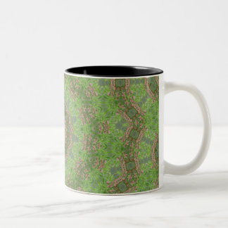 Green spiral fractal design Two-Tone coffee mug