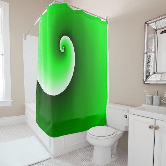 Green Spiral Gradient Shower Curtain
