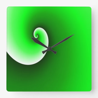 Green Spiral Gradient Square Wall Clock