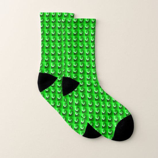 Green Spiral Gradient - Tiles Socks