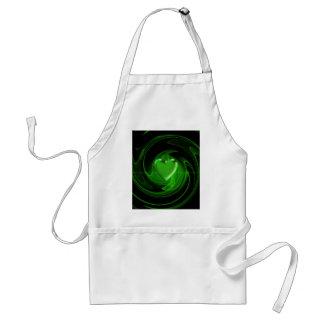 Green spiral heart adult apron