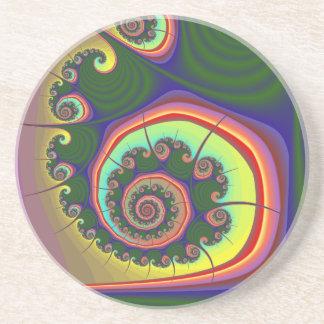 Green Spiral Jewel Fractal Drink Coaster