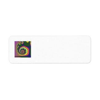 Green Spiral Jewel Fractal Label