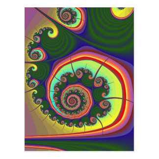 Green Spiral Jewel Fractal Postcard