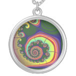 Green Spiral Jewel Fractal Silver Plated Necklace
