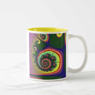 Green Spiral Jewel Fractal Two-Tone Coffee Mug