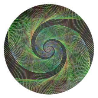 Green spiral melamine plate