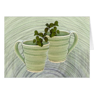 Green Spiral Mugs With Mint Sprigs Photograph Card