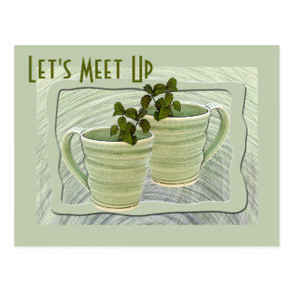 Green Spiral Mugs With Mint Sprigs Photograph Postcard
