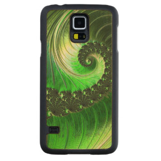 Green Spiral Nature Amazing Wild Awesome Fractal Carved® Maple Galaxy S5 Slim Case
