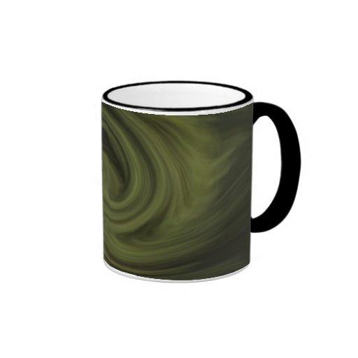 green spiral pattern mug
