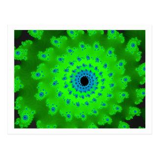 Green spiral postcard