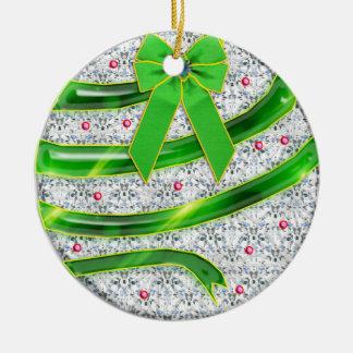 green spiral ribbon ceramic ornament