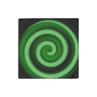 Green Spiral Zone Stone Magnet