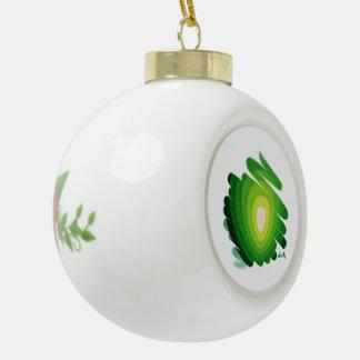 Green Spirals Chakra Ceramic Ball Ornament