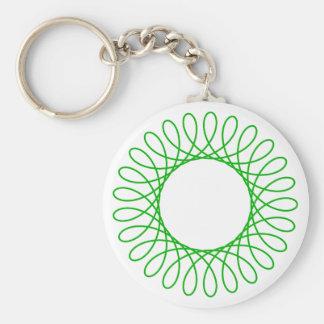 Green Spirograph Basic Round Button Keychain