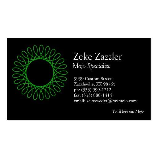 Green Spirograph Business Card Templates