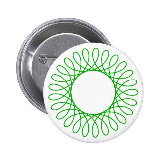 Green Spirograph Pinback Button