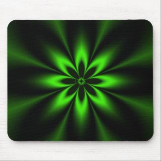 Green Splash Burst Fractal Mouse Pad