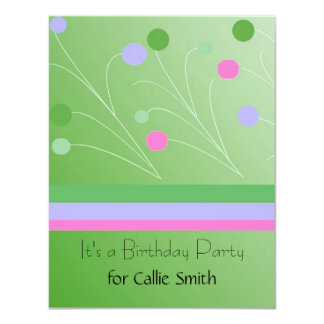 Green Splash Stripes and Dots Birthday Invitation