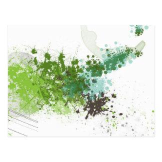 Green Splatter Post Card