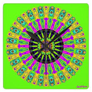 Green Spokes Kaleidoscope Clock