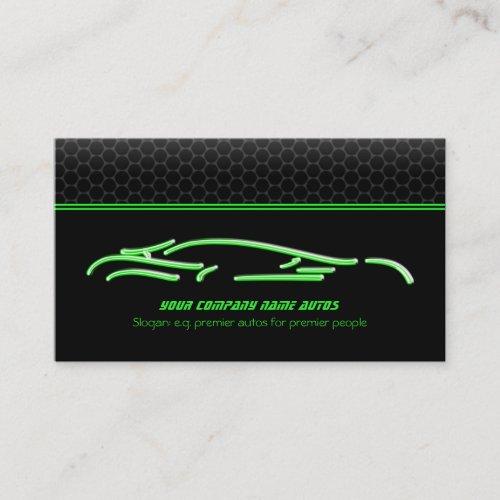 Green Sports Car Logo, neon glow effect Business Card