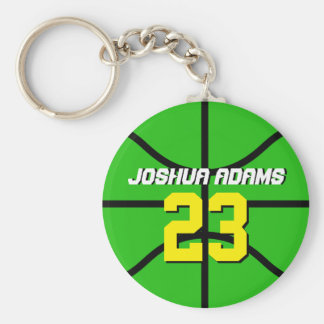 Green Sports Team Athletes Basketball Keychain