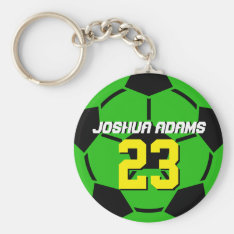 Green Sports Team Soccer Ball Keychain at Zazzle