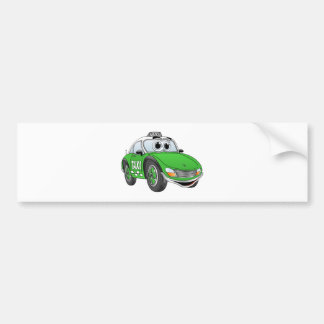 Green Sporty Taxi Cab Cartoon Bumper Sticker