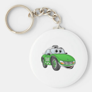 Green Sporty Taxi Cab Cartoon Keychains