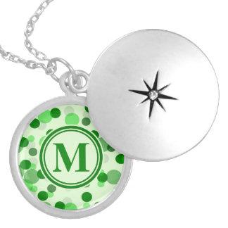 Green Spots Monogram Locket Necklace