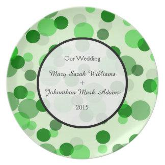 Green Spots Pattern Wedding Keepsake Melamine Plate