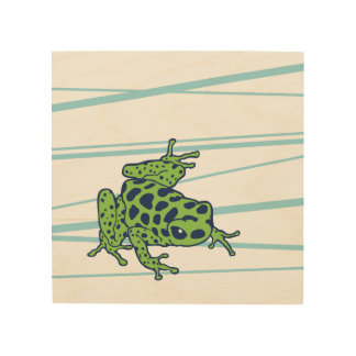 Green spotted frog color print on wood