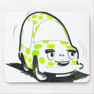 Green Spotty Car Mouse Pad