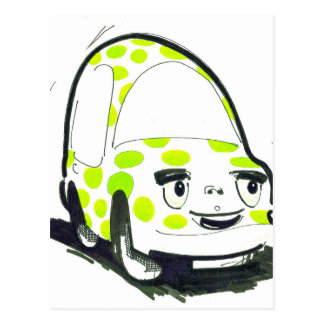Green Spotty Car Postcard