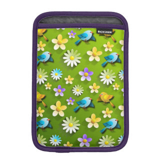 Green spring birds and flowers sleeve for iPad mini
