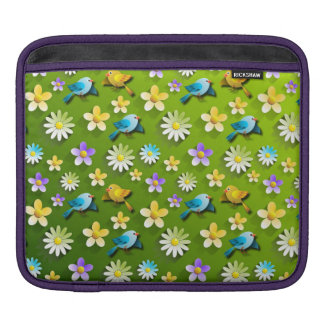 Green spring birds and flowers sleeve for iPads