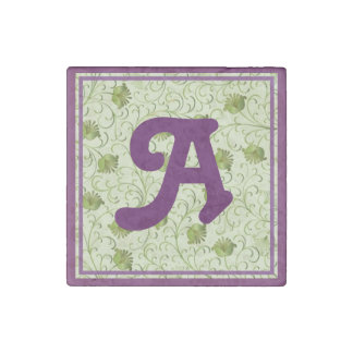 Green Spring Flowers A Monogrammed Stone Magnet