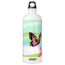green spring flowers and butterfly SIGG traveler 1.0L water bottle