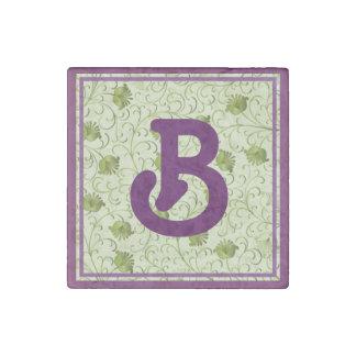 Green Spring Flowers B Monogrammed Stone Magnet
