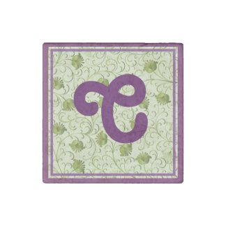 Green Spring Flowers C Monogrammed Stone Magnet