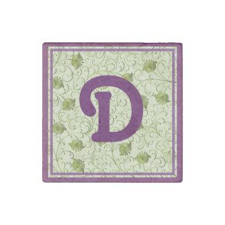Green Spring Flowers D Monogrammed Stone Magnet