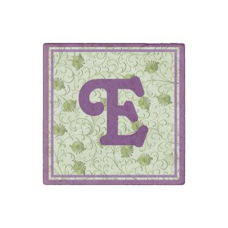 Green Spring Flowers E Monogrammed Stone Magnet