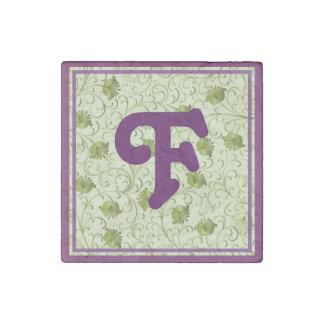 Green Spring Flowers F Monogrammed Stone Magnet