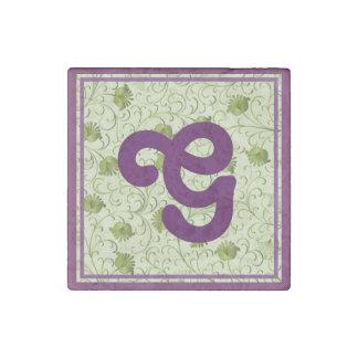 Green Spring Flowers G Monogrammed Stone Magnet
