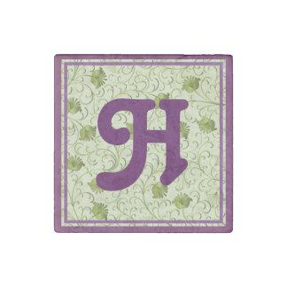 Green Spring Flowers H Monogrammed Stone Magnet